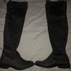 Dark Grey Suede Over the Knee Boots